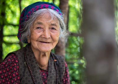 Gesicht mit Geschichten aus Nepal